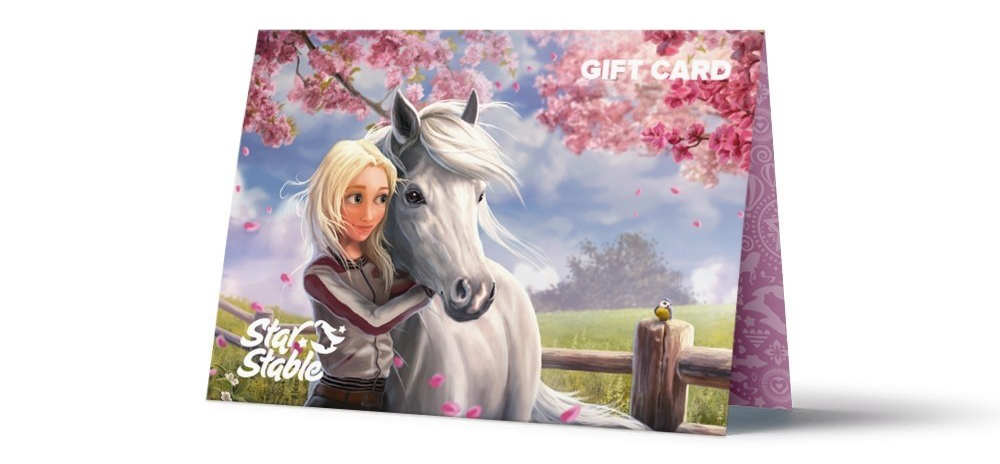 Gift card girl hugging horse
